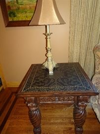 "Metal Top with Ornate Carved Legs End Table - 28"" W X 28"" D X 28""H"