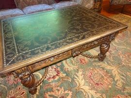 "Designer Metal Top Ornately Carved Coffee Table - 48"" X 36"" X  23""H"