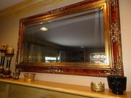 "Ornate Gold Gilded Mirror with Burgandy Trim-  60"" X 35"""
