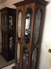 Curio Cabinet with glass shelves - lit