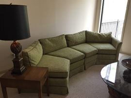 Sectional couch - mid-century - excellent condition, side table and lamp with black shade