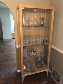 glassware and cabinet