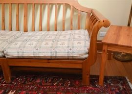 Ethan Allen Knotty Pine Slatted Sleigh Sofa