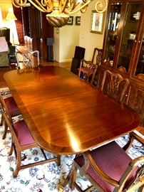 Mahogany Duncan Phyfe/Chippendale Inspired Dining Set by Councill