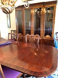 Table, 8 Chairs, China Hutch Breakfront, 3 Leaf Extensions!