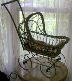 Antique Wicker Doll Size Baby Buggy