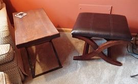 LEATHER & WOOD OTTOMAN / WOOD & IRON SIDE TABLE