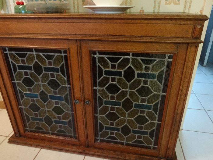 VTG LEADED STAINED GLASS CABINET