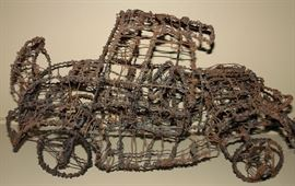 Attributed to: Thai Varick (American, 1941-2001) Antique Car Wire Sculpture. For more information on this American original: View a 1994 documentary filmed by Donald Blank about New York homeless artist Thai Varick. https:///watch?v=FRsTIr1yV3s