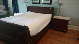 Queen sleigh bed with matching nightstand and dresser by Stanley