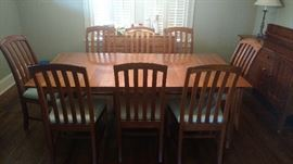 Cherry dining table with 3 leaves and 8 chairs