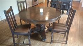 Antique barley twist table and 4 chairs
