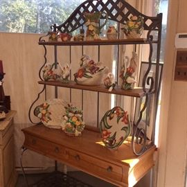 Beautiful 2 piece Ethan allen Bake Rack/Buffet.  This sale also features a beautiful collection of Fitz & Floyd.