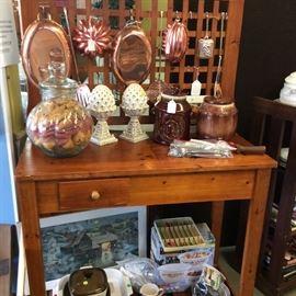 Wonderful garden work table or can be used indoors.  Vintage cookie jars