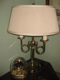 Brass lamp & anniversary clock