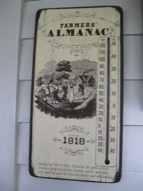 Vintage Thermometer, Farmers Almanac