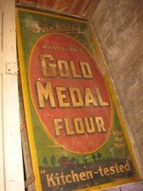 Very large vintage enamel advertising sign, Gold Medal Flour, Approx 3ft x 6ft