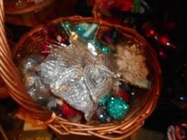 Basket filled with Sparkley Glittery Boxed Ornaments