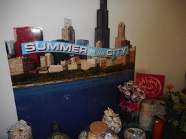 Huge SUMMER CITY CARDBOARD Chicago Lakefront, Look great in a store window..basement..deck..!!