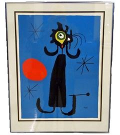 "Joan Miró Lithograph - Originally painted in 1950, this colorful abstract lithograph is titled ""Woman in Front of the Sun"".  Joan Miró (April 20, 1893 – December 25, 1983) was a Spanish painter, sculptor, and ceramicist born in Barcelona."