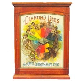 Diamond Dye Cabinet - Classic 19th C. Americana dye cabinet featured in maple with the original colored display marquee.