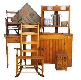 Primitive Pine Furniture -                                                                Set features Country Americana furniture with rustic farmhouse accessories.