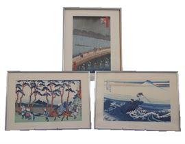 Japanese Woodblock Prints by  Hiroshige & Hokusai