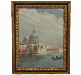 Signed Oil on Canvas, 19th Century Italian School - An oil of St. Mark's in Venice, signed in the lower left corner by the artist.