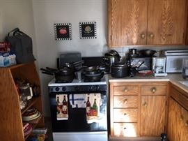 Pots and pans.  New microwave.  Coffee pots.  Toaster oven.