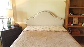 Upholstered headboard; new Beautyrest queen mattress & frame