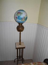 Antique electric globe parlor lamp