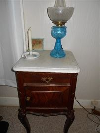 Antique marble top night stand with door and drawer