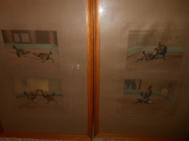 "Antique "" fighting chickens"" lithographs"