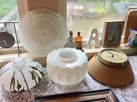 Vintage Art Deco Glass + Milk Glass Globe. There is Really Cool Vintage Lighting at This Sale.  Plus several Lamps.