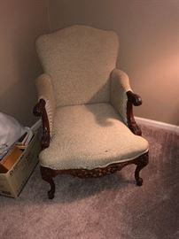 Family Heritage Estate Sales, LLC. New Jersey Estate Sales/ Pennsylvania Estate Sales. White Upholstered Arm Chair.