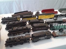 Lionel trains - Catepillar, New York, Sante Fe, Pennsylvania - engines, coal cars, and more