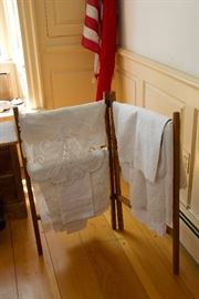 Antique Linen and Linen Rack
