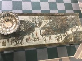 Rare Philip & Kelvin Laverne Etched Bronze Asian Spring Festival Mid Century Coffee Table, Signed, Wonderful original condition!
