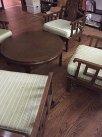 Mid Century Asian style low club chairs and table.