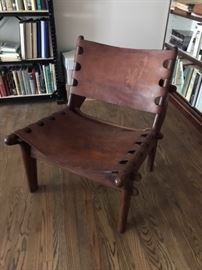 Angel Pazmino rosewood leather sling chair