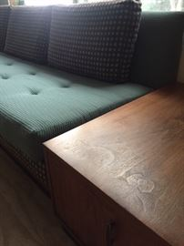 Super cool mid century sofa with teak end tables