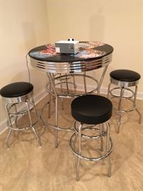CHROME PUB OR BISTRO TABLE
