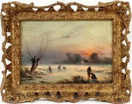 MANNER OF ISAAC VAN OSTADE, OIL ON CANVAS, H 6 1/4'', W 9 1/2'', DUTCH WINTER SCENE  Lot # 0008