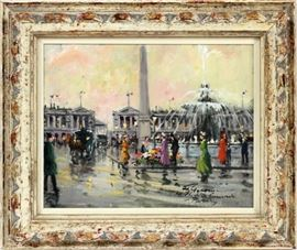 "FRANCOIS GEROME (FRENCH B. 1895), OIL ON ARTIST BOARD, H 8"", W 10"" PLACE DE LA CONCORDE  Lot # 0009"