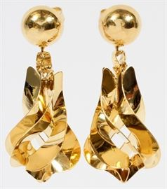 "14KT YELLOW GOLD DANGLE EARRINGS, PAIR, H 1 1/2"" (APPROX.)  Lot # 0018"