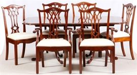DREXEL MAHOGANY TABLE & 12 CHAIRS  Lot # 0020