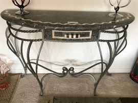 Foyer table with drawer, marble top
