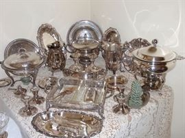 Collection of beautiful Silver Plate Serving Pieces all polished and ready to use!