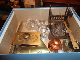 Assorted collection of ink wells and desk items - antique and vintage.