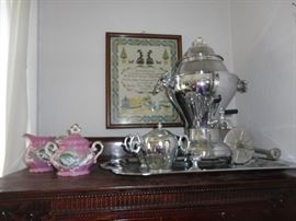 Vintage Coffee maker with creamer, sugar and matching tra - excellent condition.  Antique creamer and sugar from Bavaria.
